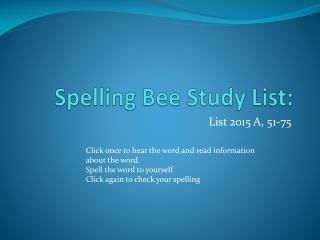 Spelling Bee Study List: