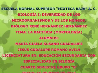 "ESCUELA NORMAL SUPERIOR ""MIXTECA BAJA"" A. C."