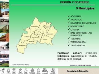 Población actual*:  2'239,526  habitantes, equivalente al 15.26% del total de la entidad.