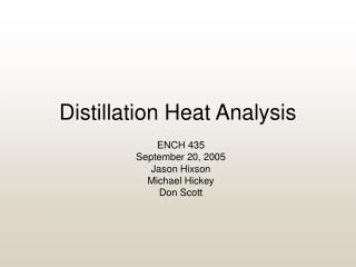 Distillation Heat Analysis