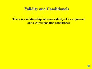 Validity and Conditionals