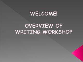 WELCOME! OVERVIEW OF  WRITING WORKSHOP