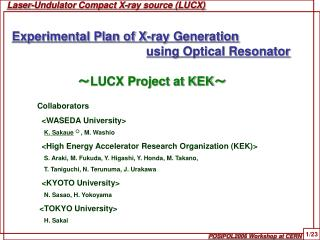Laser-Undulator Compact X-ray source (LUCX)