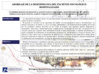 ABORDAJE DE LA DESESPERANZA DEL PACIENTE ONCOLÓGICO HOSPITALIZADO