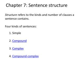 Chapter 7: Sentence structure