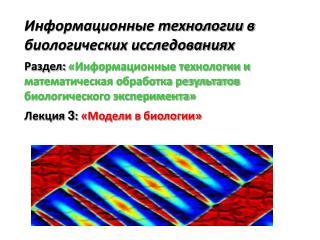 Информационные технологии в биологических исследованиях