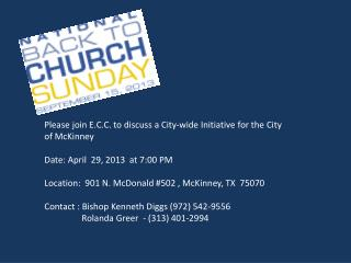 Please join  E.C.C. to discuss a City-wide Initiative for the City of McKinney