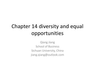 Chapter 14 diversity and equal opportunities