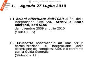1.Agenda 27 Luglio 2010