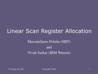 Linear Scan Register Allocation