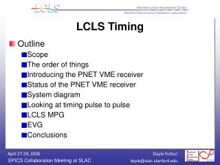 LCLS Timing