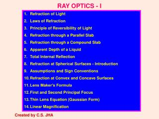 RAY OPTICS - I