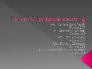Parent Orientation Meeting