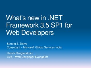 What's new in .NET Framework 3.5 SP1 for Web Developers
