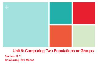 Unit 6: Comparing Two Populations or Groups