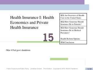 Health Insurance I: Health Economics and Private Health Insurance