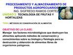 PROCESAMIENTO Y ALMACENAMIENTO DE PRODUCTOS AGROPECUARIOS ING. SIGFREDO RAMOS CORTEZ