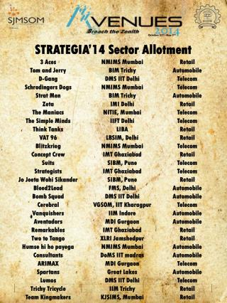 STRATEGIA'14  Sector Allotment