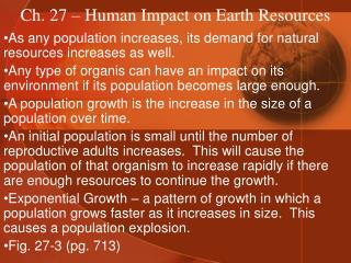 Ch. 27 – Human Impact on Earth Resources