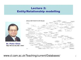 Lecture 2:  Entity/Relationship modelling