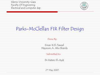 Parks-McClellan FIR Filter Design