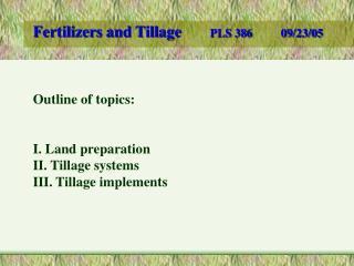 Fertilizers and Tillage PLS 38609/23/05