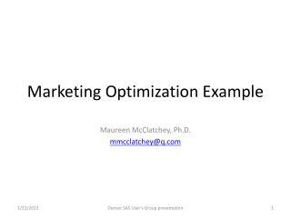 Marketing Optimization Example
