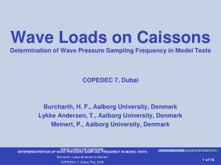 Wave Loads on Caissons Determination of Wave Pressure Sampling Frequency in Model Tests