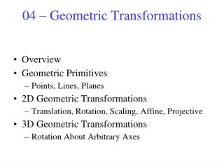04 � Geometric Transformations