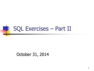SQL Exercises – Part II