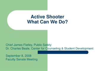 Active Shooter What Can We Do