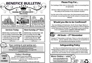 Benefice bulletin