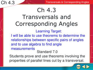 Ch 4.3 Transversals and Corresponding Angles