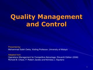 Quality Management and Control