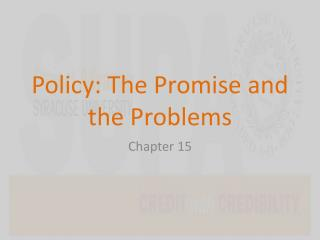 Policy: The Promise and the Problems