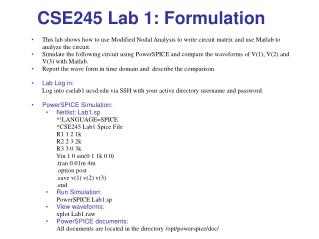 CSE245 Lab 1: Formulation