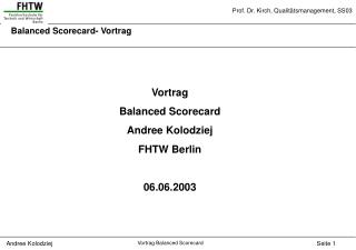 Balanced Scorecard- Vortrag