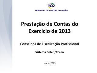 Prestação de Contas do  Exercício de 2013 Conselhos de Fiscalização Profissional
