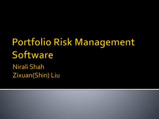 Portfolio Risk Management Software