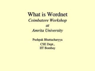 What is Wordnet Coimbatore Workshop at Amrita University