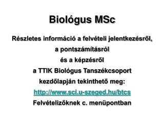 Biológus MSc