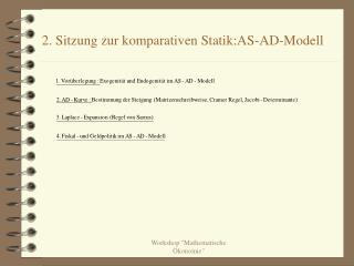 2. Sitzung zur komparativen Statik:AS-AD-Modell
