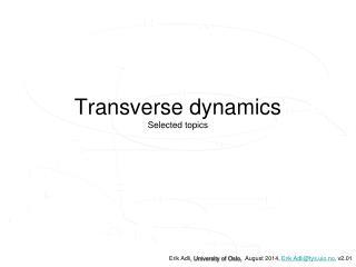 Transverse  dynamics Selected topics