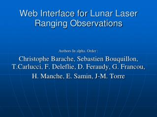 Web Interface for  Lunar  Laser  Ranging  Observations