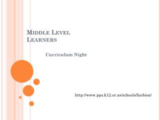 Middle Level Learners