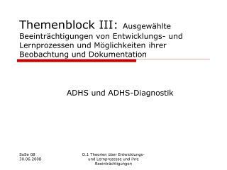 Themenblock III: Ausgew hlte Beeintr chtigungen von Entwicklungs- und Lernprozessen und M glichkeiten ihrer Beobachtung