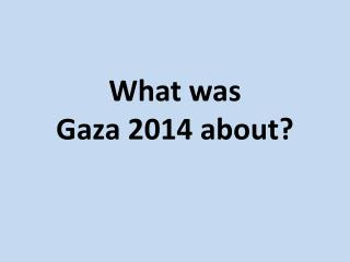 What was  Gaza 2014 about?