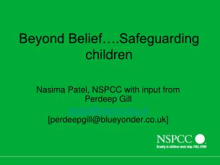 Beyond Belief….Safeguarding children