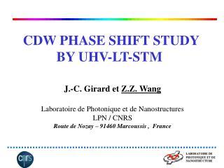 CDW PHASE SHIFT STUDY   BY UHV-LT-STM