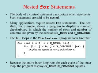 Nested  for  Statements
